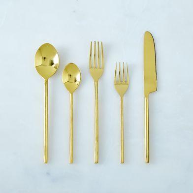Simple Brass Flatware (5-Piece Place Setting)