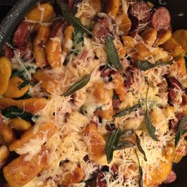 Chicken Apple Sausage with Butternut Squash Gnocchi, Spinach and Fontina Cheese