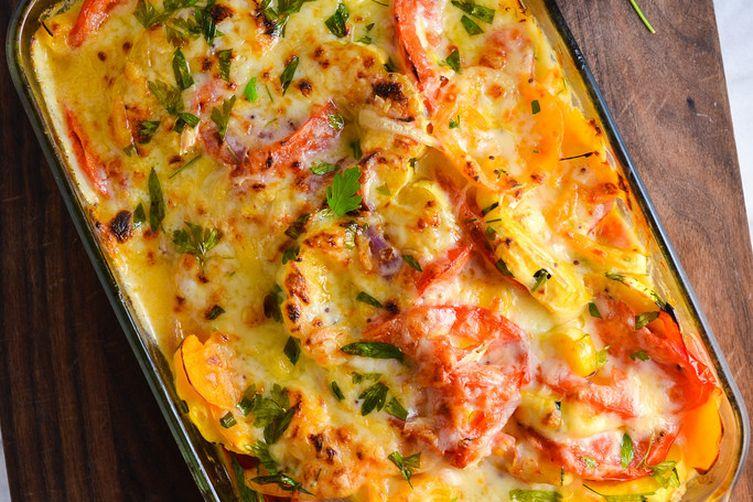 Delicata Squash and Tomato Gratin