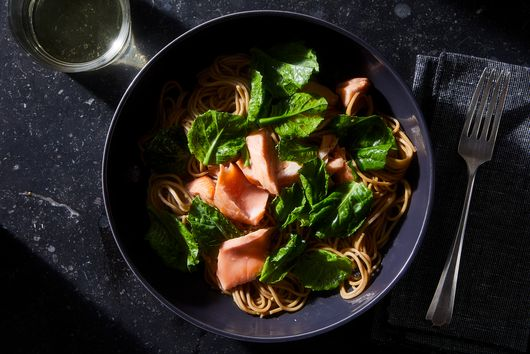 Hot Smoked Salmon, Soba and Asian Greens Salad
