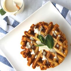 Butternut Squash Waffles and Bourbon-Maple Creme Fraiche