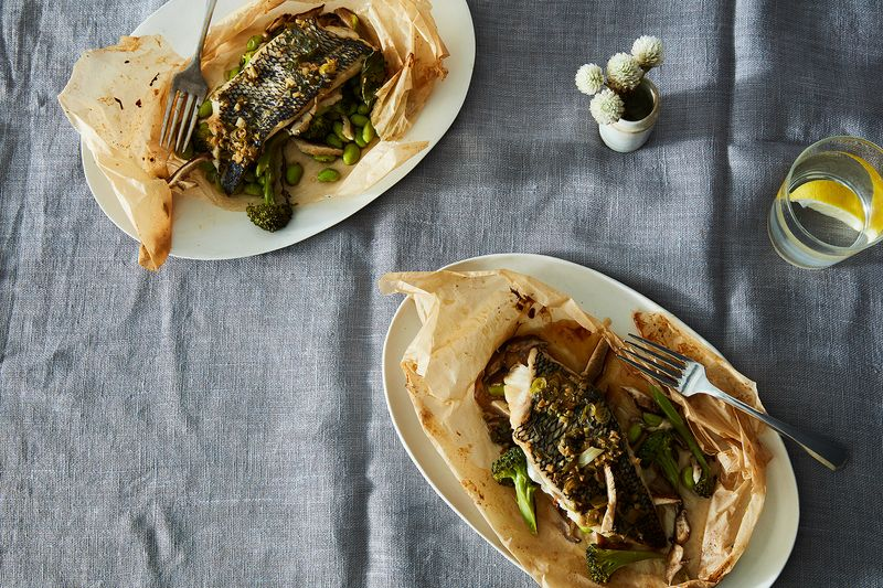 Black Sea Bass with Vegetables En Papillote