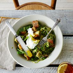 Spring Vegetable Panzanella with Poached Eggs