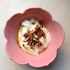 Coconut Greek Yogurt with Extra Virgin Olive Oil and Pecans