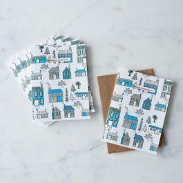 Quaint Seasons Greetings Holiday Letterpress Cards, Box of 6