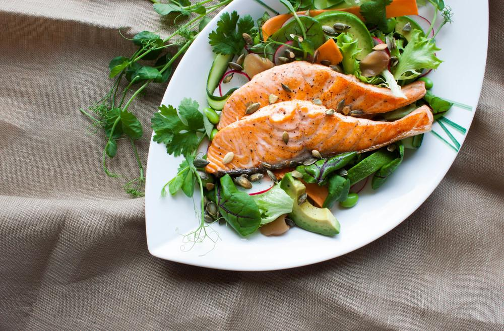Salmon Salad with Wasabi Dressing