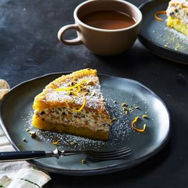 Olive Oil Cake with Crème Fraîche, Pistachios, Orange, and Chocolate