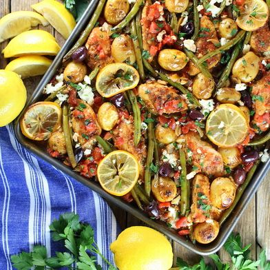Greek Chicken Sheet Pan Dinner with Green Beans and Feta