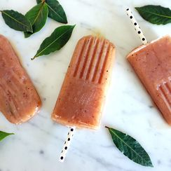 Grilled Peach and Bay Leaf Popsicles