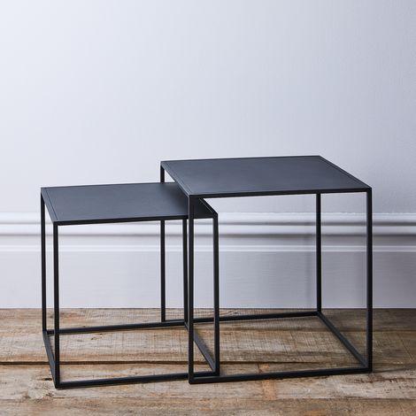 Modern Industrial Nesting Side Tables (Set of 2)