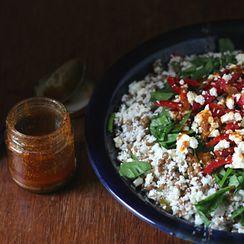 Chopped cauliflower, lentil and chermoula salad