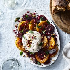 Burrata & Burnt Oranges With Pistachios, Mint & Pomegranate