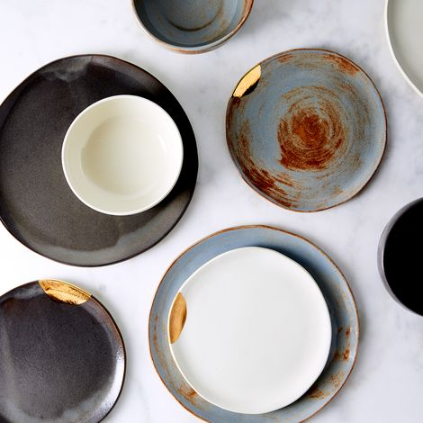 Handmade Gold-Dipped Dinnerware