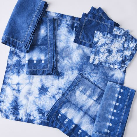 Hand-Dyed Indigo Shibori Linen Napkins (Set of 4)