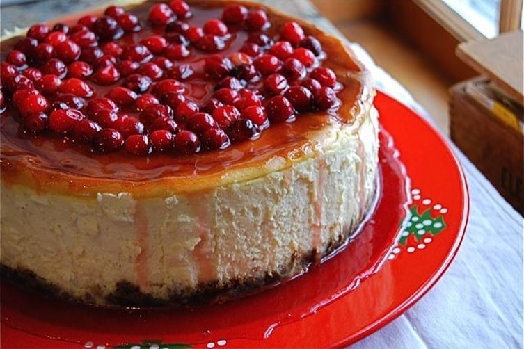 Eggnog Cheesecake with Gingersnap Crust & Pomegranate Glaze Recipe on ...