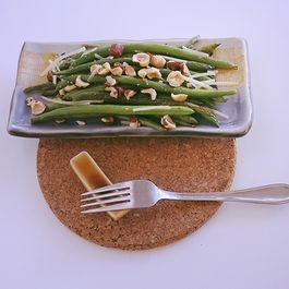 French Green Beans with Sea Salt, Roasted Hazelnuts and Parmesan