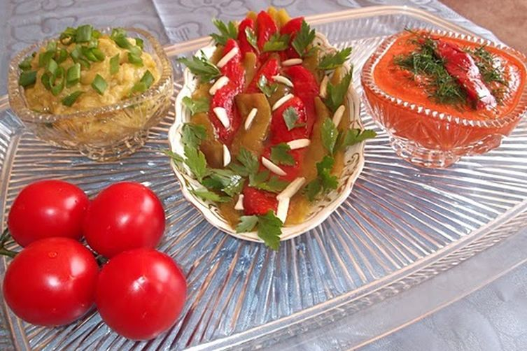 Mixed Pepper Appetizer with Fresh Tomato Sauce and Zucchini Caviar