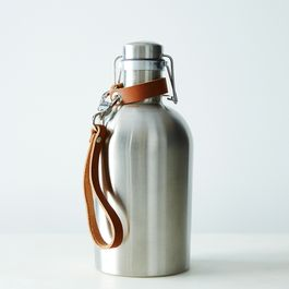 Stainless Steel Growler with Leather Handle