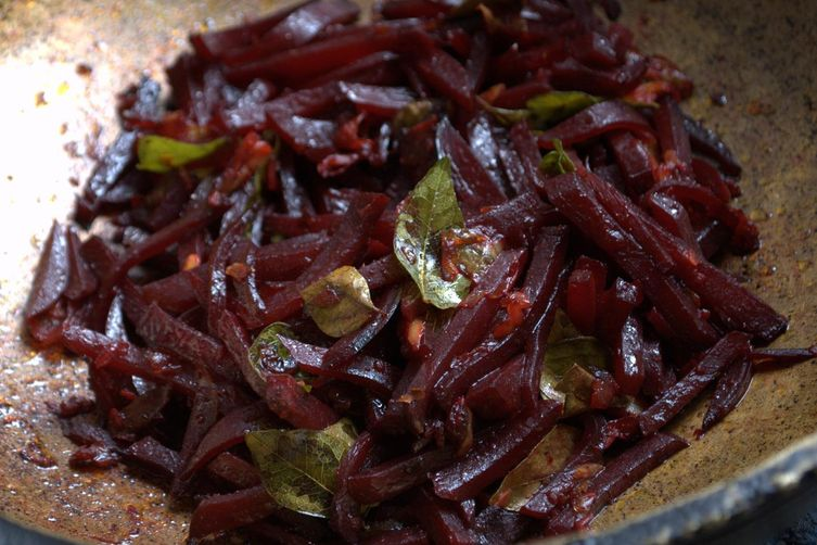 Beets ularthu (Beet root  stir fried in onion garlic seasoning)