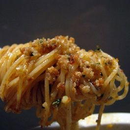 Pasta con Salsa (Spaghettini with Anchovies, Garlic and Breadcrumbs)