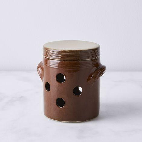 Vintage French Stoneware Onion Pot