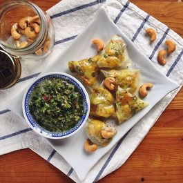 Cauliflower Rice Paper Samosas with a Tangy Mint Chutney