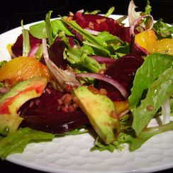 Roasted Beet, Orange and Avocado Salad with Ginger-Cassis Dressing