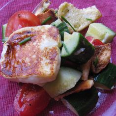 FATTOUSH SALAD WITH GRILLED HALLOUMI