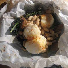 Kale, Andouille, Scallop, White Bean, and Piment d'Esplette - in Parchment