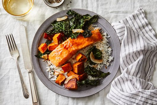 Crispy Coconut Kale With Roasted Salmon & Coconut Rice
