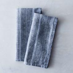 Striped Blue Linen Napkins (Set of 2)