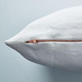 Vintage Linen Pillow Case with Copper Zipper