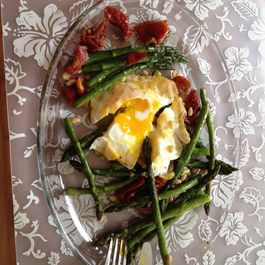 Asparagus, Egg and Roasted Tomato Salad with Pine Nuts