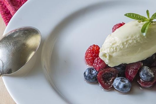 LEMON VERBENA ICE CREAM WITH SUMMER BERRIES AND CHERRIES