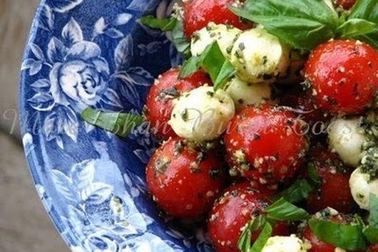 Pesto Cherry Tomato Caprese Salad
