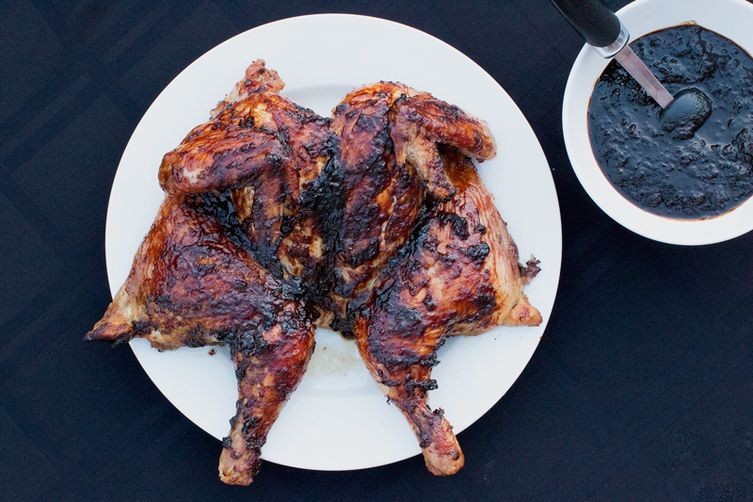 Whole Grilled Chicken with Bourbon BBQ Sauce