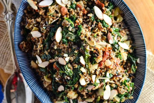 Wild Rice with Kale, Sun Dried Tomatoes and Gruyere
