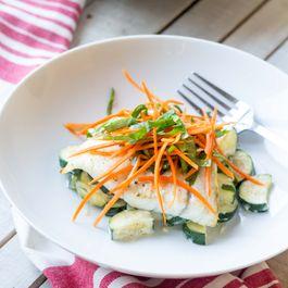 Barramundi with Creamed Zucchini with Sorrel Tarragon Carrot Salad