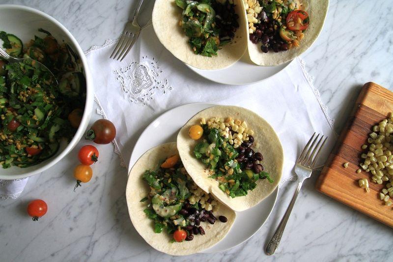 Tabbouleh Tacos with Tahini-Garlic Dressing