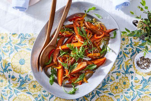 Roasted Sweet Potatoes With Peperonata & Greens