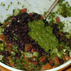 Chimichurri Sauce with Black Beans and Lentils