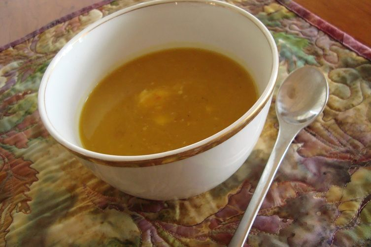 Delicate Delicata Squash Soup with Apple and Vermouth