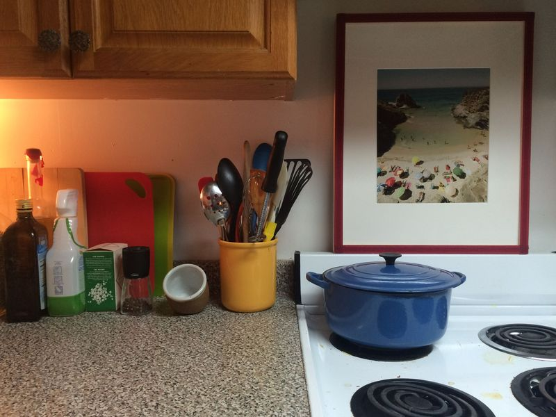Too many things still on the counter (and a dirty stove).