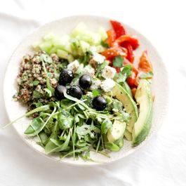 Greek salad and parsley tabbouleh with quinoa