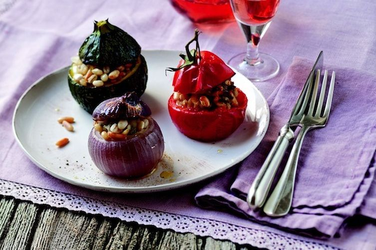 Stuffed Vegetables with Beans and Barley