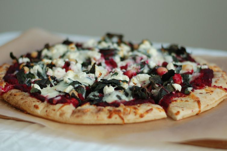 Swiss Chard Pizza with Beet sauce
