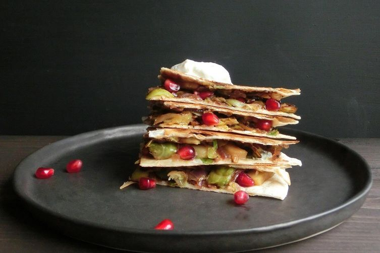 Brussels Sprouts, Apple and Gorgonzola Quesadillas