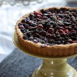 Cranberry Tart with Cognac-soaked Raisins, Tangerine Zest, and Dark Chocolate