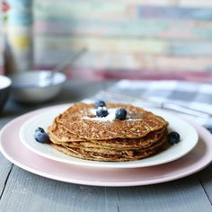 Vegan banana peanut butter pancakes