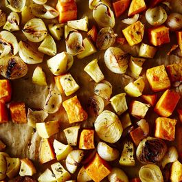 Roasted Sweet Potato and Apple with Pearl Onions and Crispy Sage